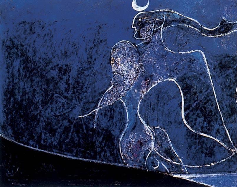 Angelo ribelle su fondo blu