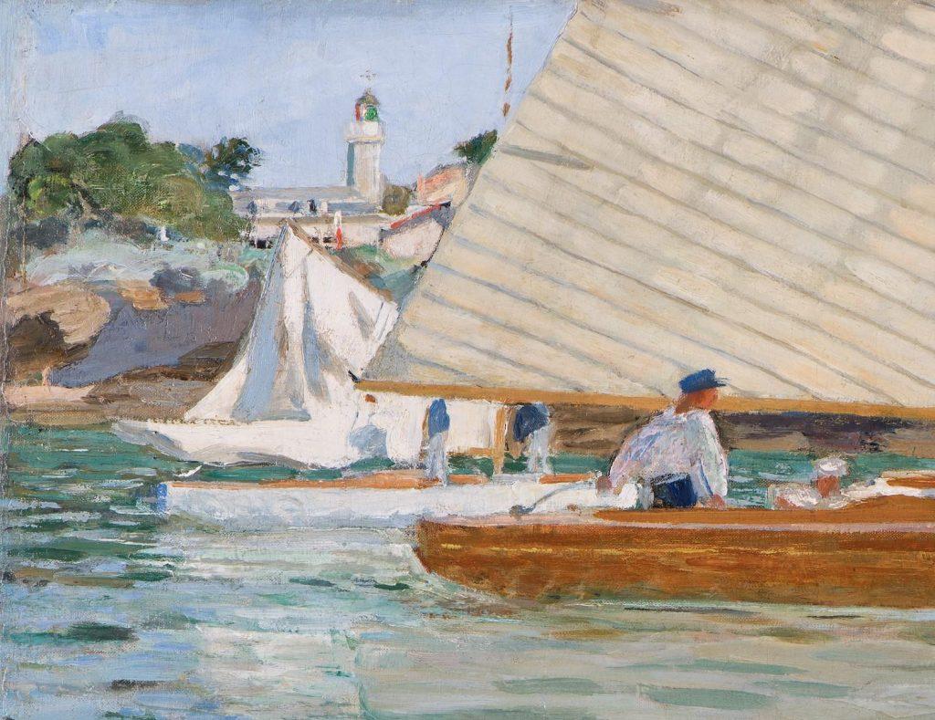 Raoul du Gardier Una regata velica a Pornic con il faro sullo sfondo