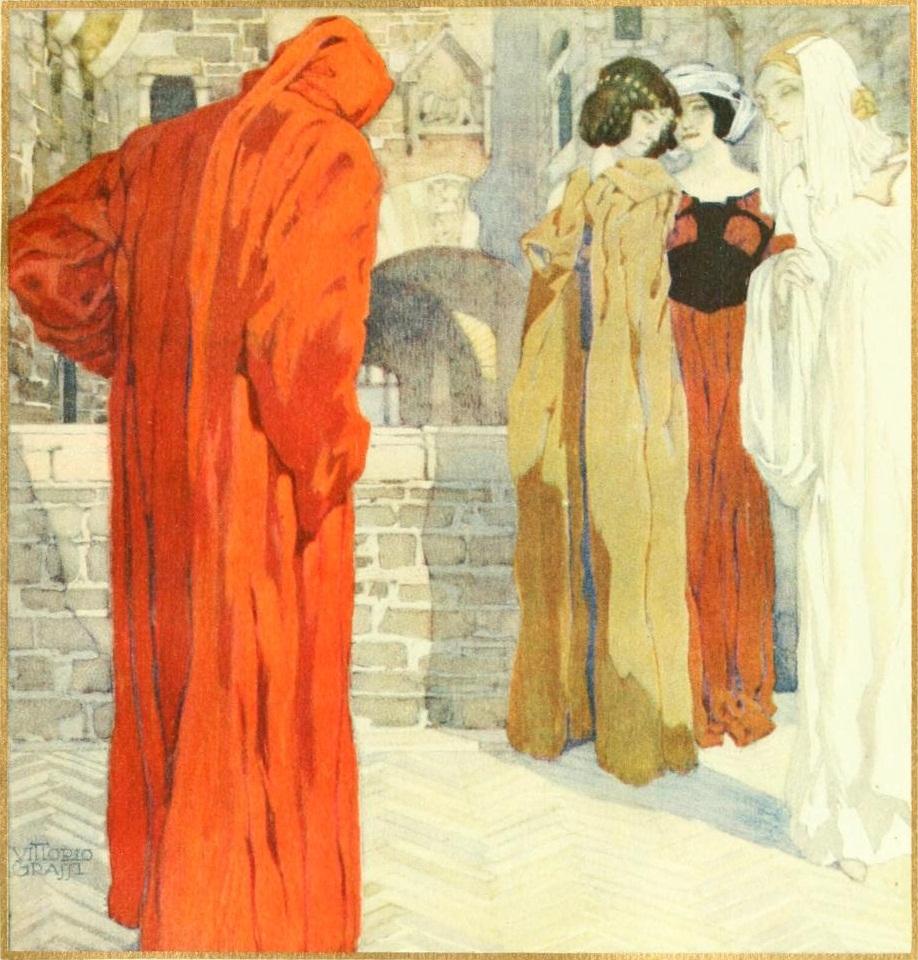 Illustrazione di Vittorio Grassi tratta da p. 4 della Vita Nuova nell'edizione per il sesto centenario della morte di Dante, nel 1921.