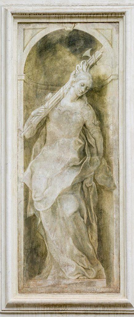 Enrico Albricci allegoria con fascio littorio Santa Maria della Carità Brescia