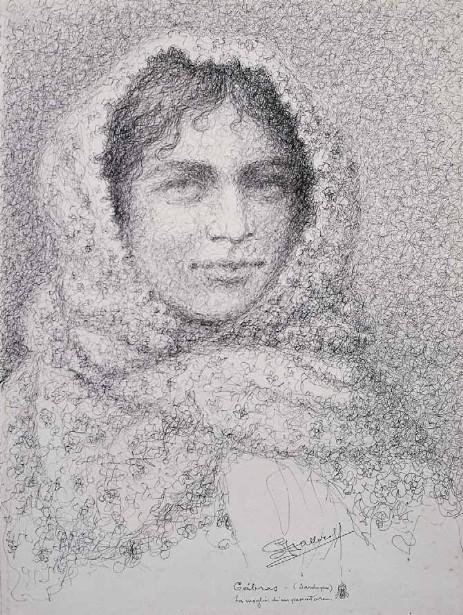 Antonio Ballero la moglie di un pescatore 1922 china su carta