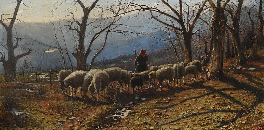 Achille Tominetti - Paesaggio con pecore