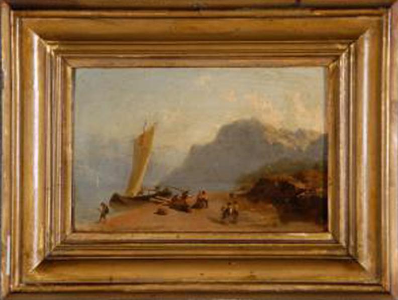Angelo Beccaria paesaggio con pescatori