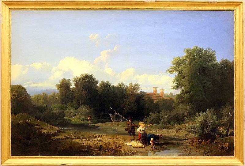 Angelo beccaria paesaggio alla pesca 1855
