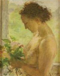 Antonio Schiaffino - donna con mazzo di fiori