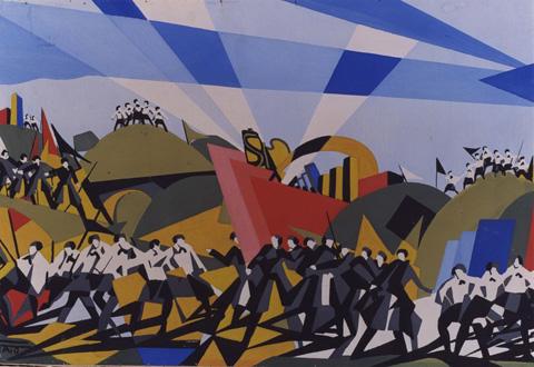 Tato Guglielmo Sansoni La marcia su Roma Tempera su carta incollata su compensato 30 x 40 cm del 1922